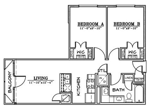 743 sq. ft. B2 floor plan