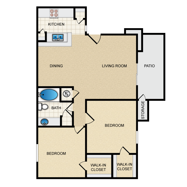 820 sq. ft. Ph1 B1 floor plan