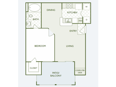648 sq. ft. A1.2 floor plan