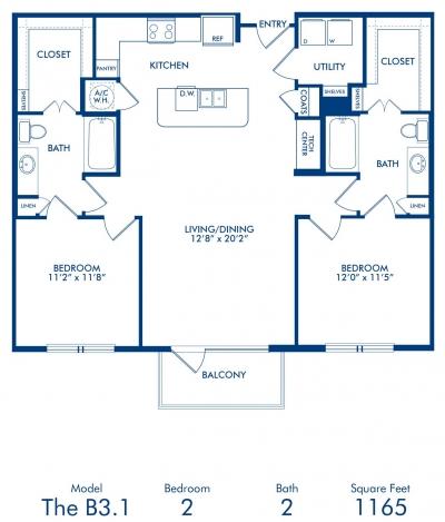 1,165 sq. ft. B3.1 floor plan