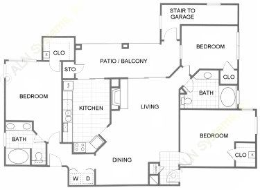 1,328 sq. ft. C1 floor plan