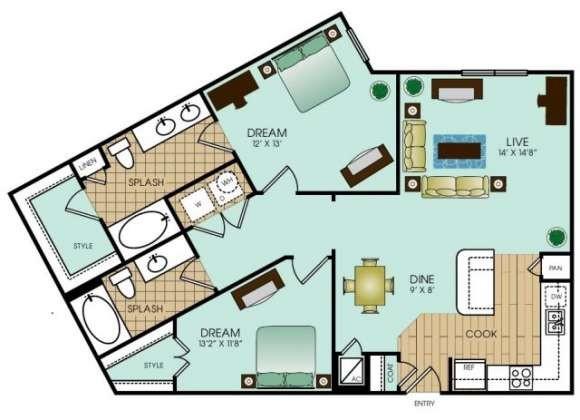 1,083 sq. ft. B5 floor plan