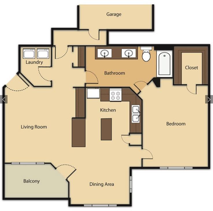 841 sq. ft. A5 floor plan