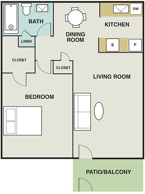 592 sq. ft. floor plan