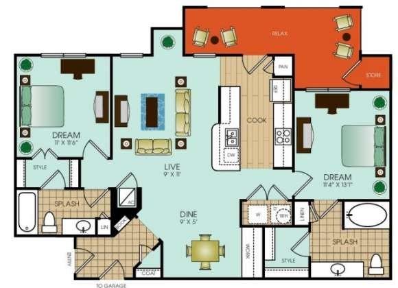 1,116 sq. ft. B6 floor plan