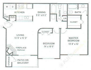 1,022 sq. ft. D floor plan