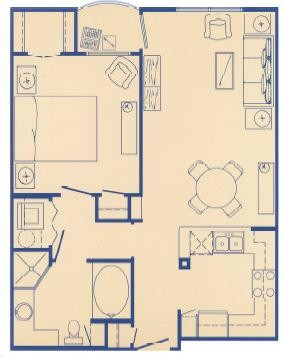 694 sq. ft. A floor plan