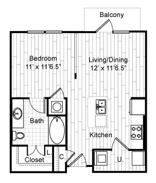 596 sq. ft. E1 floor plan