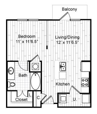 596 sq. ft. E1 floor plan
