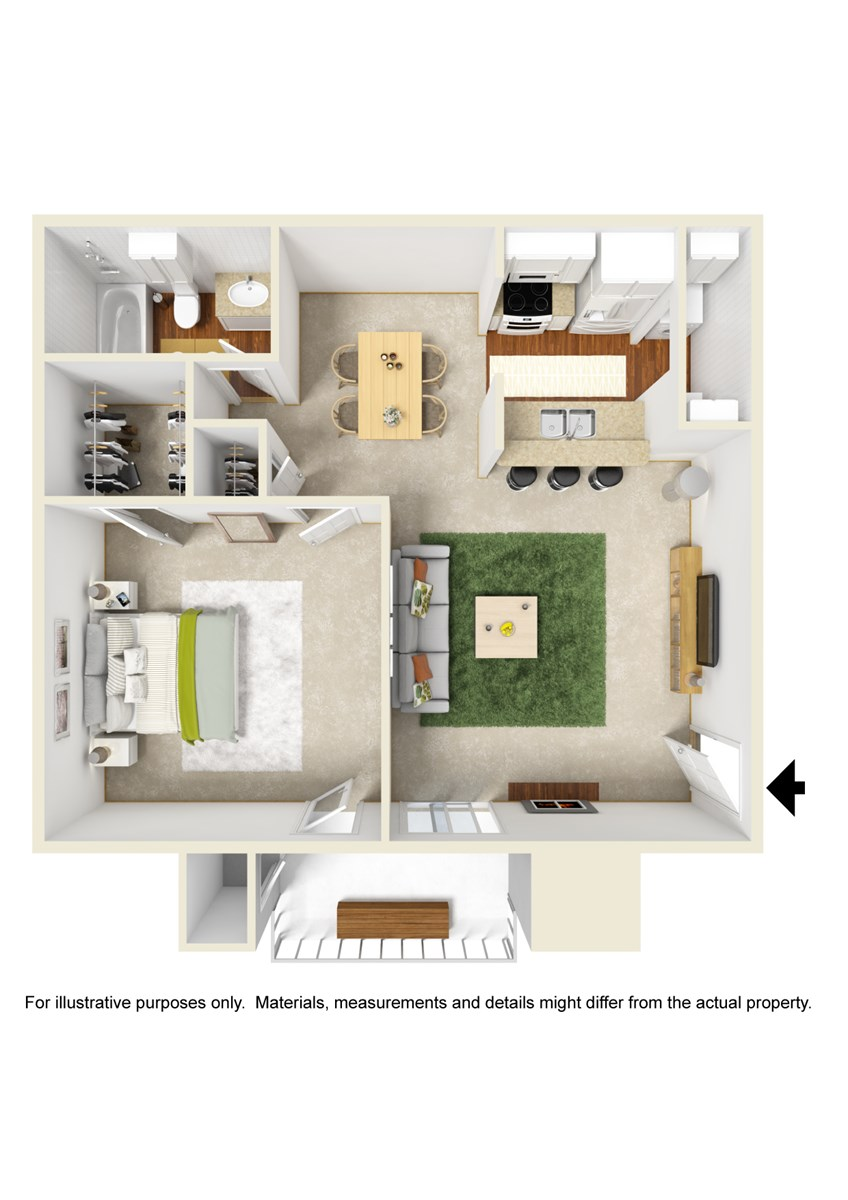 610 sq. ft. A3 floor plan
