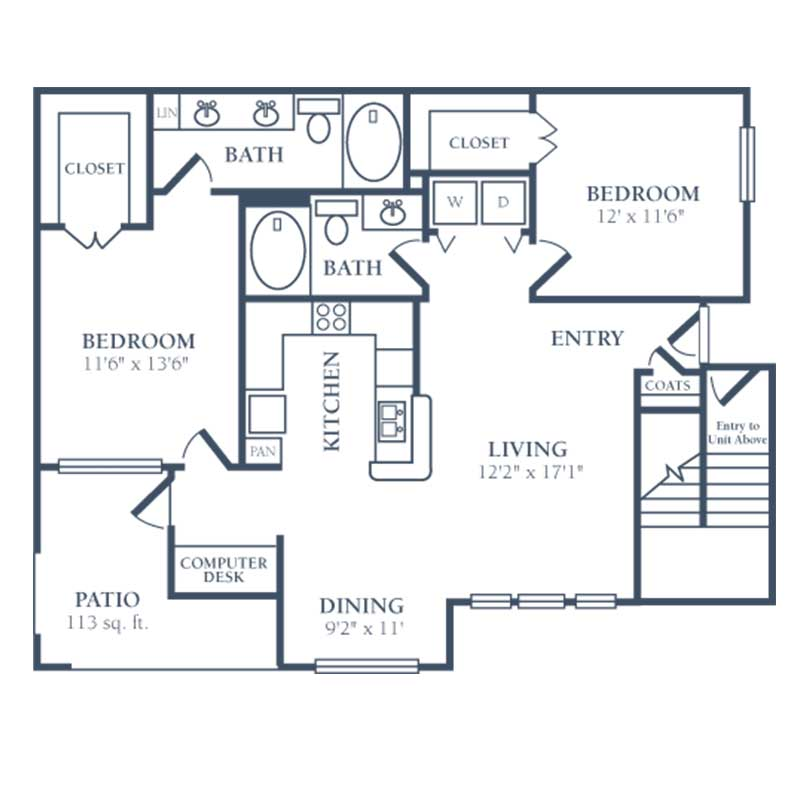 1,227 sq. ft. F2 floor plan