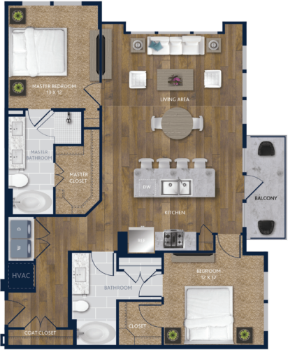 1,292 sq. ft. B5 floor plan