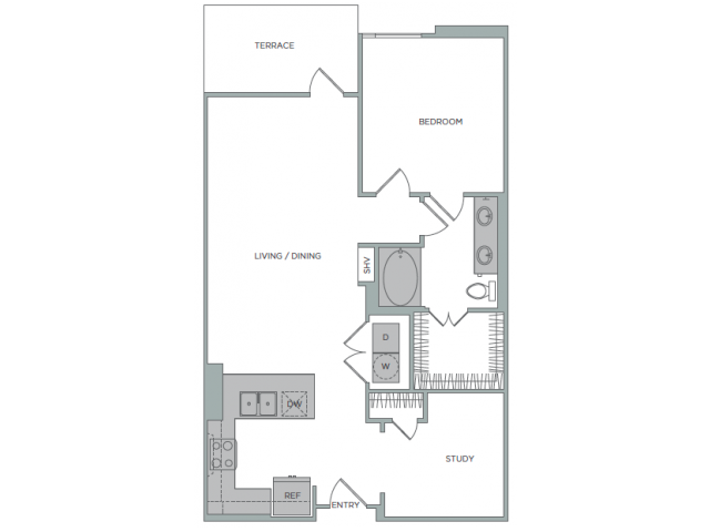 1,041 sq. ft. 1S floor plan