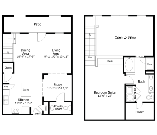 1,200 sq. ft. to 1,360 sq. ft. 4Al1 floor plan