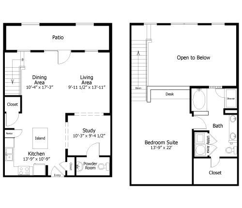 1,200 sq. ft. to 1,360 sq. ft. 4Al1 floor plan