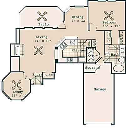 1,063 sq. ft. Ziefield floor plan