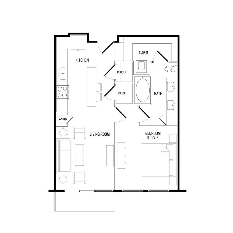 722 sq. ft. A4B floor plan