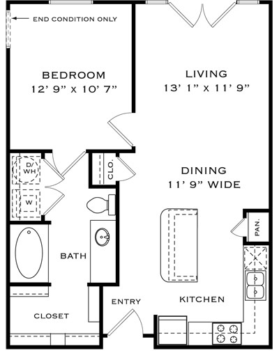714 sq. ft. A1B floor plan