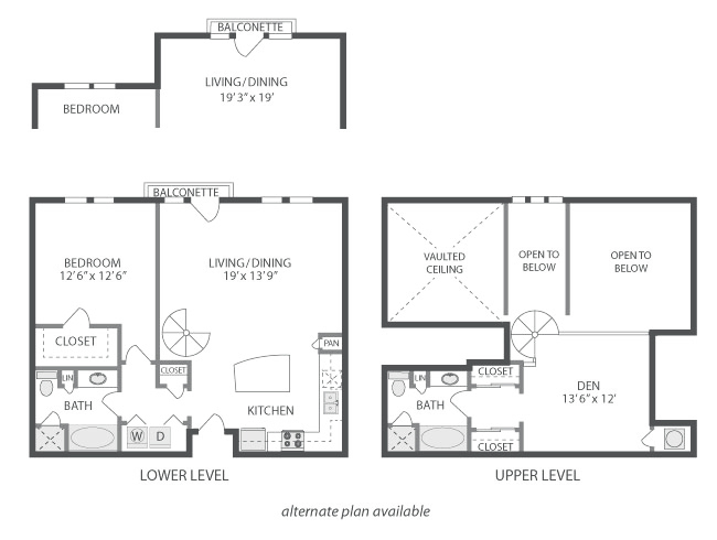 1,128 sq. ft. to 1,252 sq. ft. Mullholland floor plan