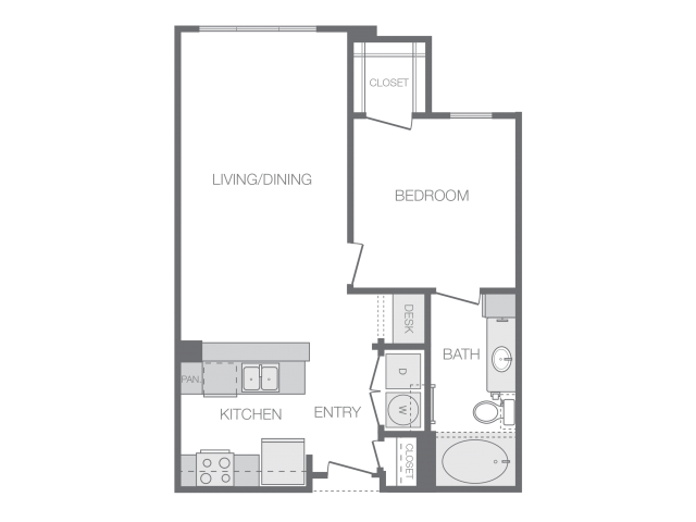 718 sq. ft. D floor plan