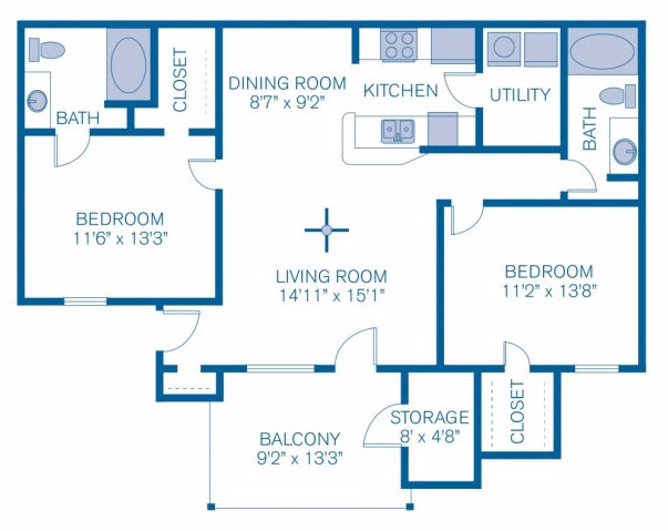 1,059 sq. ft. to 1,236 sq. ft. Autumn Oaks floor plan
