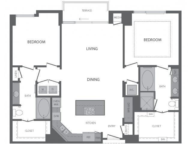 1,336 sq. ft. M floor plan