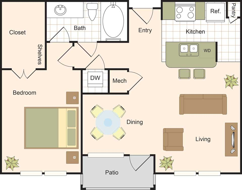 792 sq. ft. A3 floor plan
