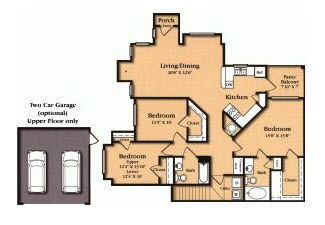 1,398 sq. ft. C1 floor plan