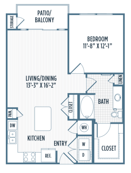 746 sq. ft. A4 floor plan