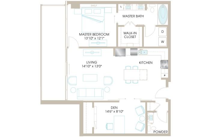1,062 sq. ft. A6DP floor plan