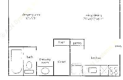 402 sq. ft. L floor plan