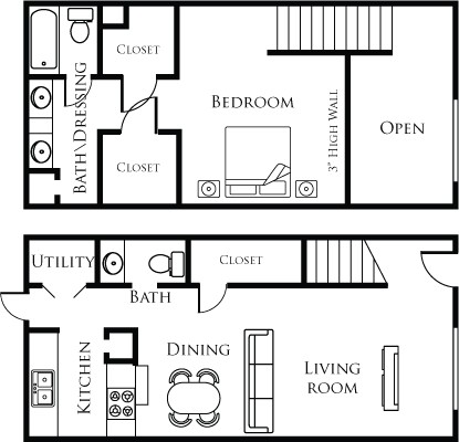 944 sq. ft. 11D floor plan