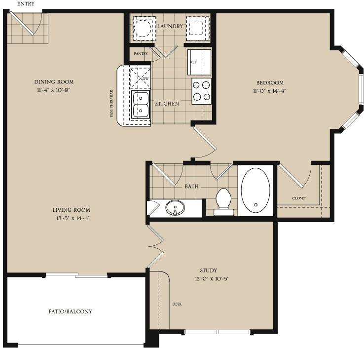 884 sq. ft. A3 floor plan