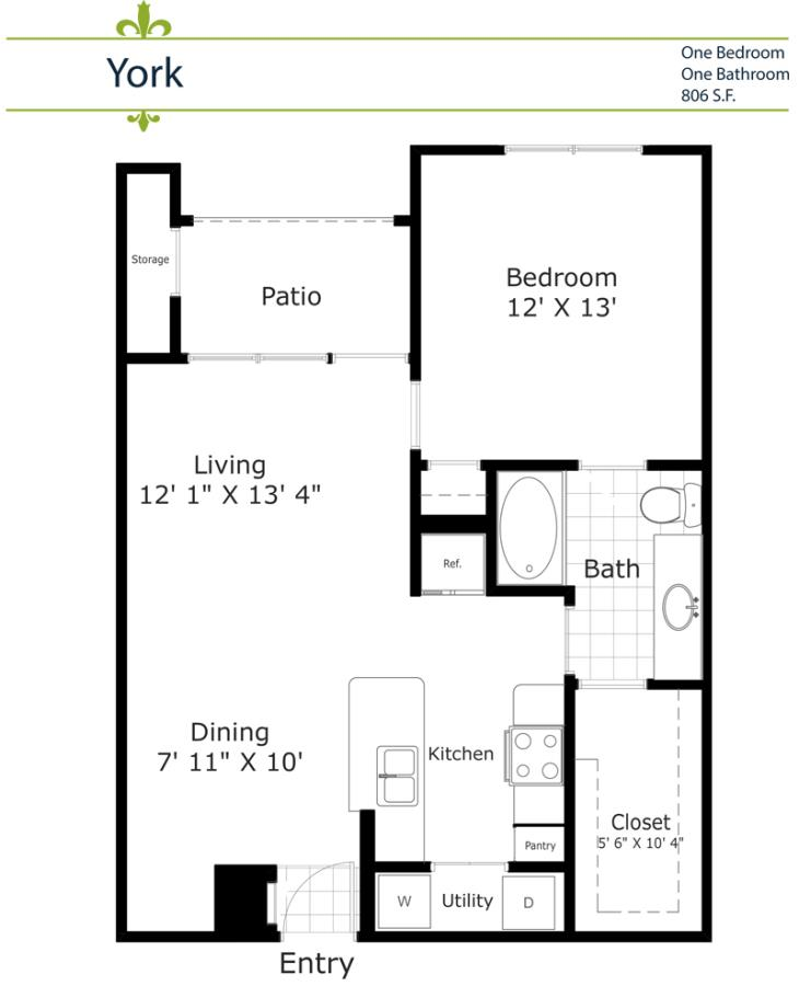 728 sq. ft. A2/York 2nd & 3rd Floor floor plan