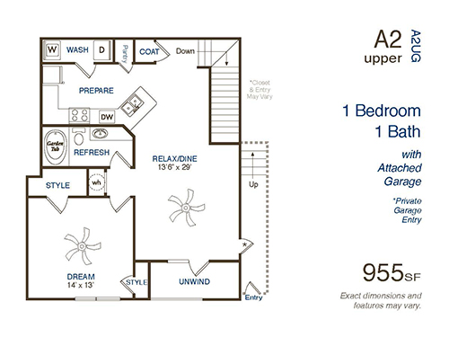 955 sq. ft. A3 floor plan
