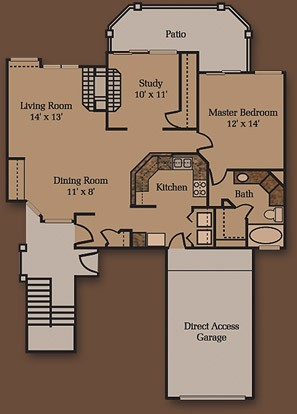1,048 sq. ft. A1 floor plan