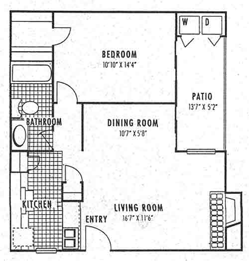 689 sq. ft. 1A floor plan
