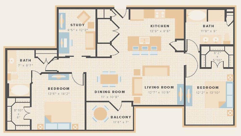 1,368 sq. ft. B2a floor plan