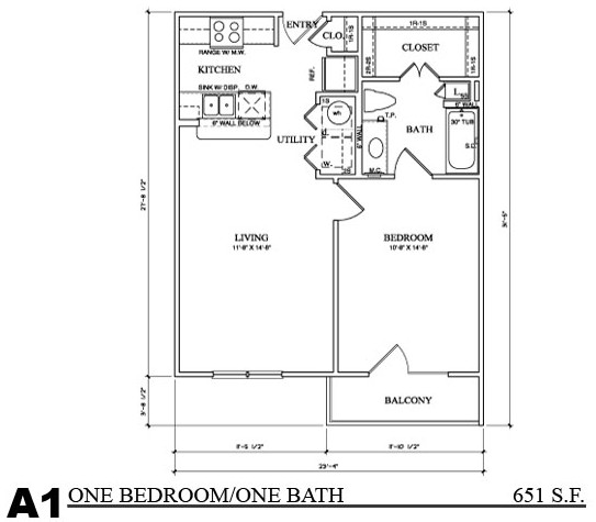 651 sq. ft. A1E floor plan