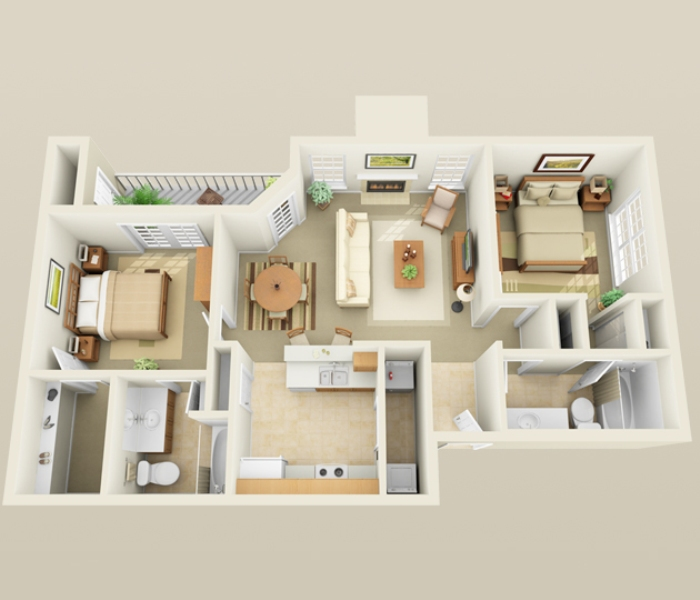 1,003 sq. ft. B1 floor plan