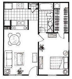 615 sq. ft. A floor plan