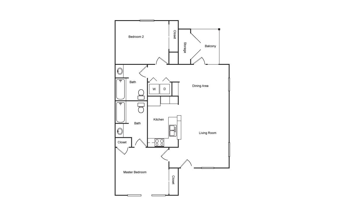 990 sq. ft. HC floor plan