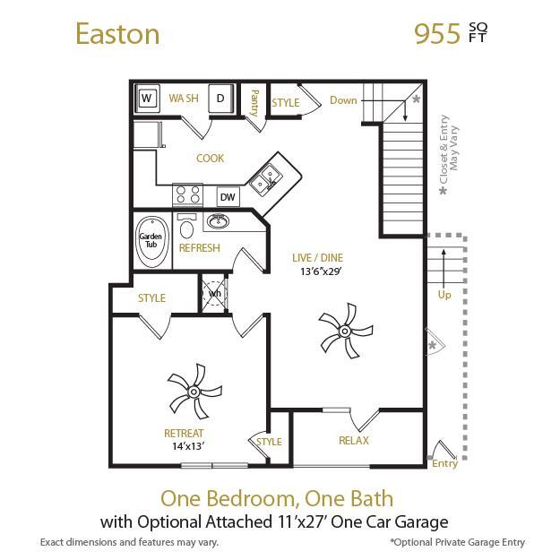955 sq. ft. Easton floor plan