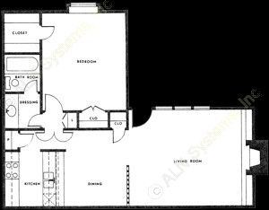 785 sq. ft. A-4 floor plan