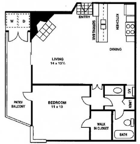 670 sq. ft. A3 floor plan