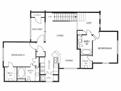 1,167 sq. ft. B2/50% floor plan