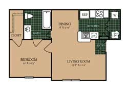 605 sq. ft. A-1 floor plan