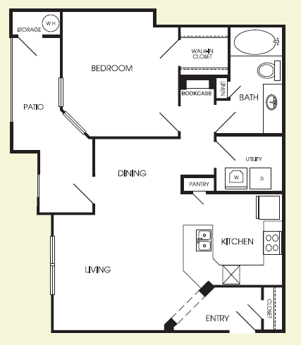 785 sq. ft. Astoria floor plan