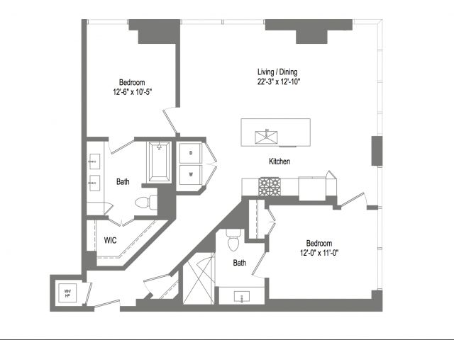 1,168 sq. ft. B2B floor plan