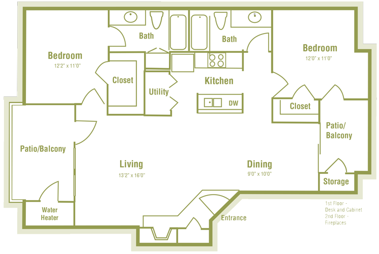 1,082 sq. ft. E floor plan